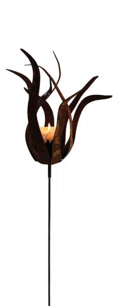 Rost Feuerblume H45/100cm mit Stab
