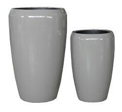 Vase FS157 H68/51cm 2er Satz, glz.taupe