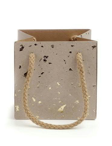 Tasche Papier 10,5x10,5cm wasserfest, 72 nat/gol
