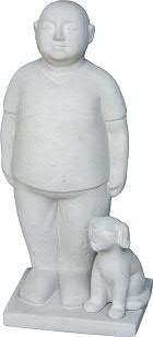 Figur m.Hund BT422 H48cm stehend, cement