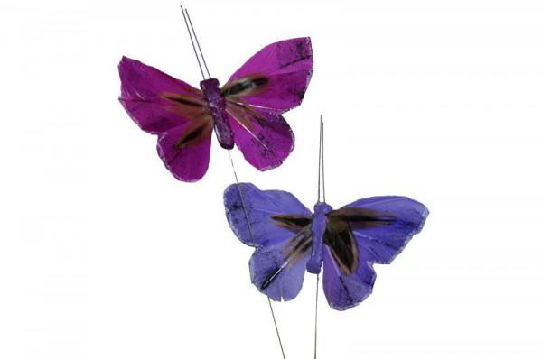 Schmetterling 12St.7,5/20cm am Draht Stecker, lila sort.