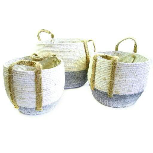 Korb Maisgras S/3 mit Henkel D29H24/D27H20/D22H16cm mit Folie, creme/grau