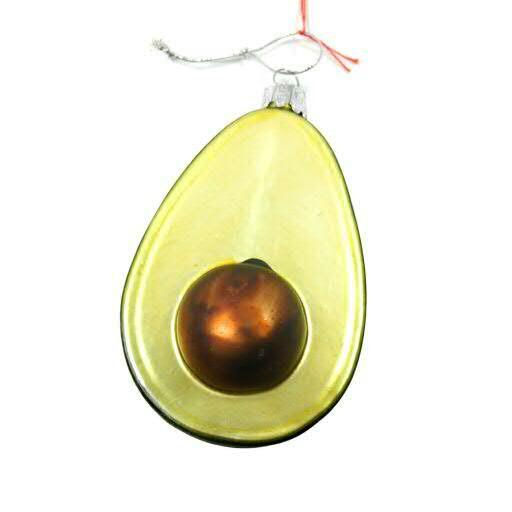 Avocado Glas 6St.6,5x6,5x11cm, grün/gold