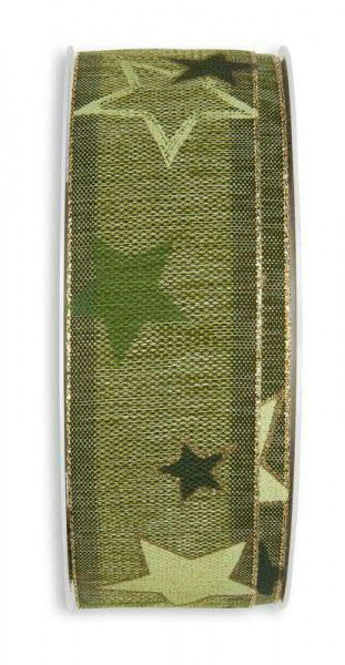 Band 331/35mm18m Sterne meliert, 29 oliv