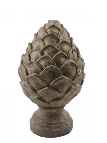 Zapfen Keramik 13x21cm, bronze/gol