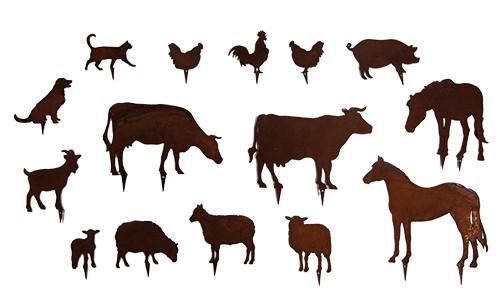 Rost Bauernhoftiere 15St. 6-18cm zum Stecken