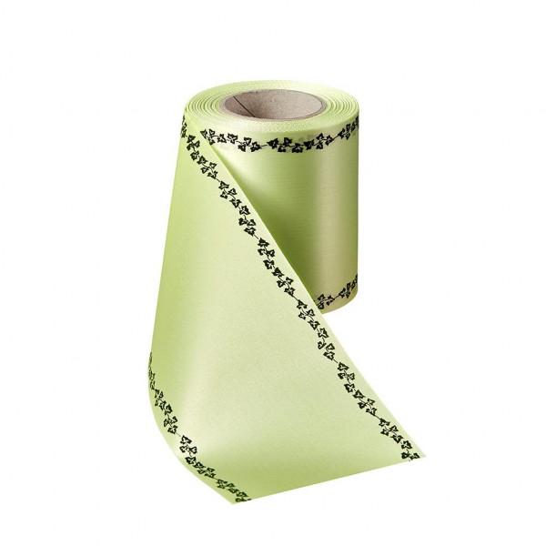 Kranzband 06739/150mm 25m Satin Efeurand schwarz, 070 limone