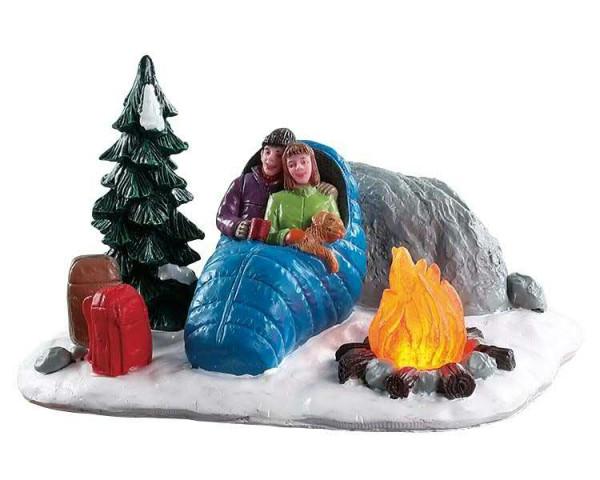 Night time campfire 12,8x7,4cm animiert, Beleuchtet,Batteriebetrieben