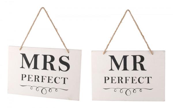 Schild Holz 30x20cm Mrs./Mr.Perfekt, weiß