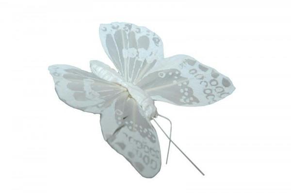 Schmetterling 12St.8/20cm am Clip, weiß