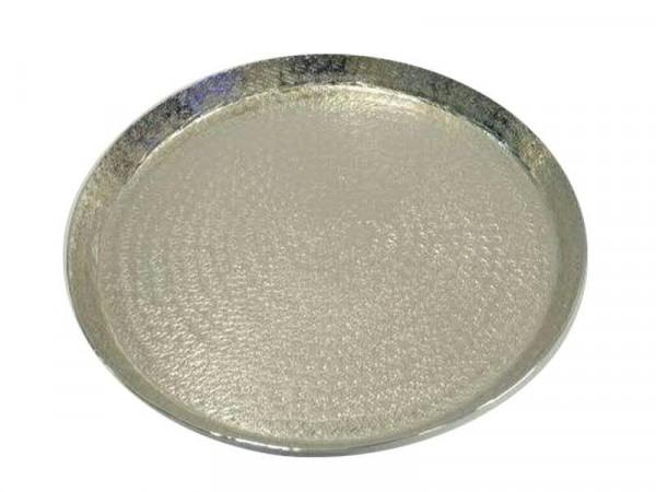 Teller Metall D33cm gehämmert vernickelt, silber