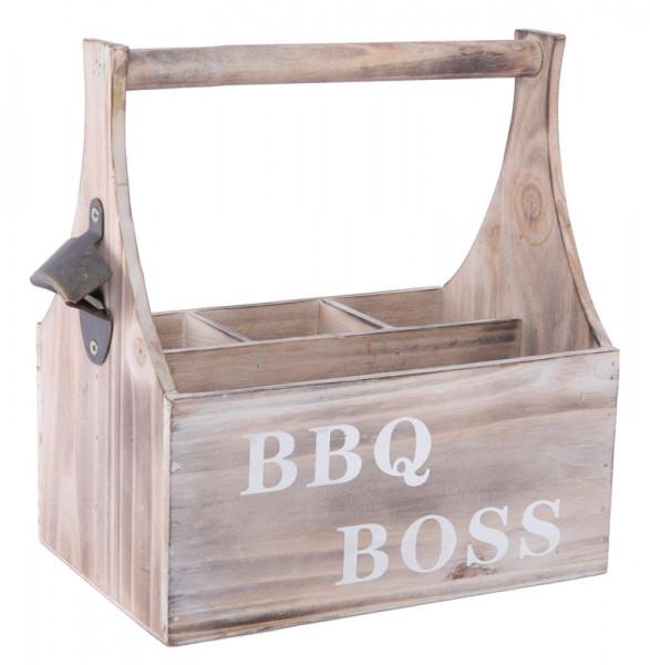 Kiste Holz 28x17x28cm mit Henkel BBQ-Boss, braun wash