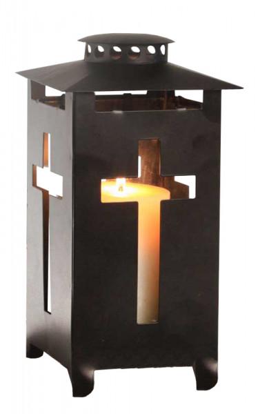 Laterne Metall 13,5x13,5x25cm m.Kreuz, schwarz