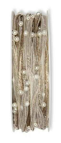 Kordel 4775/5mm 15m Perlen, 72 natur
