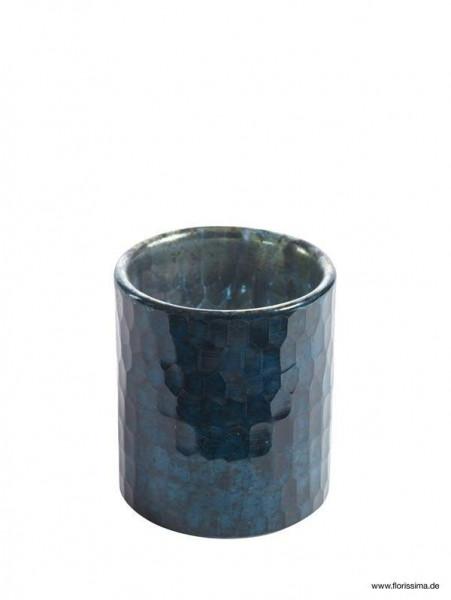 Glas Windlicht D8H9cm, dunkelblau