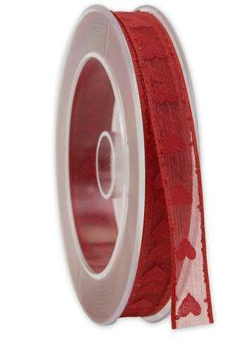 Band Organza 145a/15mm 20m Herzen, 20 rot