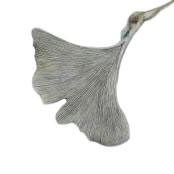 Blatt Gingo Poly 4St.12x7x2cm Trauer, steingrau