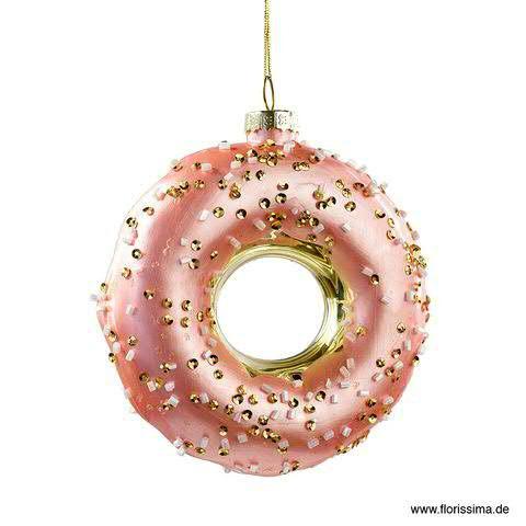 Donut Glas 10x11,5cm zum Hängen, pink/gold