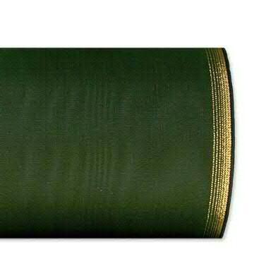 Kranzband 6694/225mm 25m Moire Goldrand, 648 d.grün