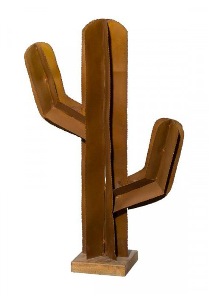 Kaktus Metall SP 75cm auf Holz Fuß, rost