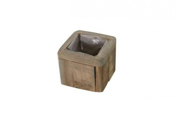 Kasten Holz SP 13x13x11cm mit Plastik, antik