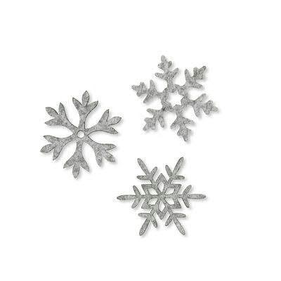 Eiskristalle SP Filz 6St. sortiert, 22 grau