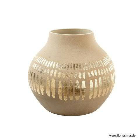 Vase Keramik D41H36cm bauchig, sand