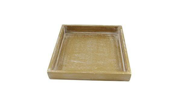 Tablett Holz 20x20x3cm, gold