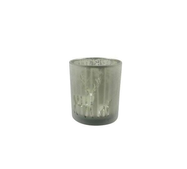 Glas Teelicht 8,8x10cm Rentier, grün