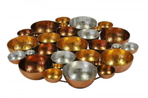 Teelichtschale Metall 40cm rund, bronze mix