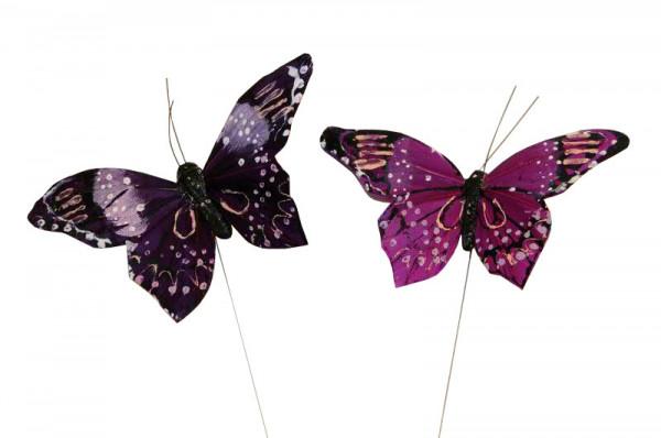 Schmetterling 11cm am Draht Stecker, purple