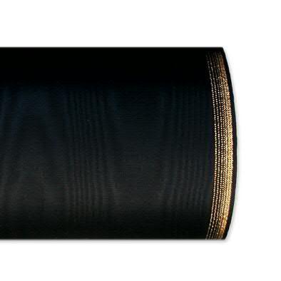 Kranzband 6694/100mm 25m Moire Goldrand, 610 schwar