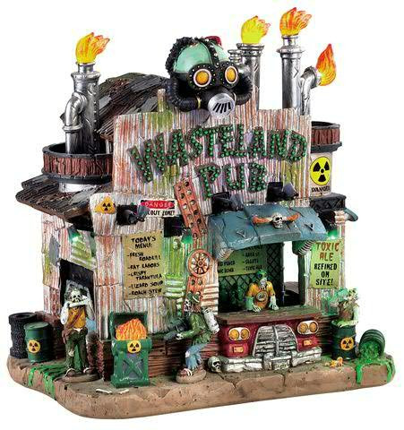 Halloween Wasteland Pub 21,4x21,5cm sound & Beleuchtung, 4,5V Adapter