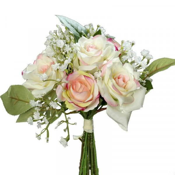 Rosen Schleierkraut Strauss 20cm Pink Creme Seide Hochzeit
