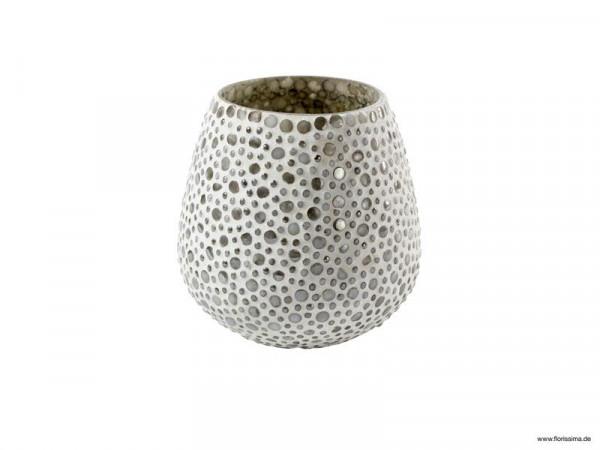 Glas Teelicht D9H13cm mit Punkten, creme
