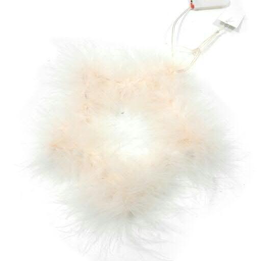 LED Stern D30cm mit Federn zum Hängen, pink