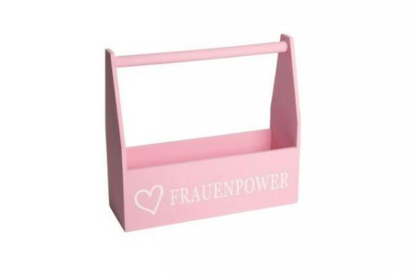 Kiste Holz 35x12x32cm mit Henkel Frauenpower, rosa