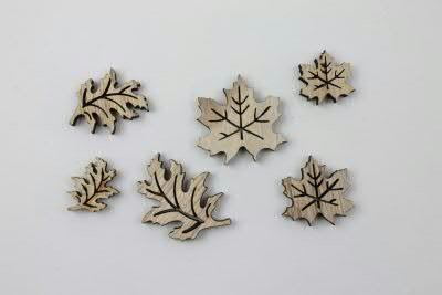 Blätter Holz 3-5cm 48St., natur