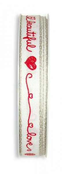 Band 632/15mm 20m Herz/Schrift, 13 wß/rot