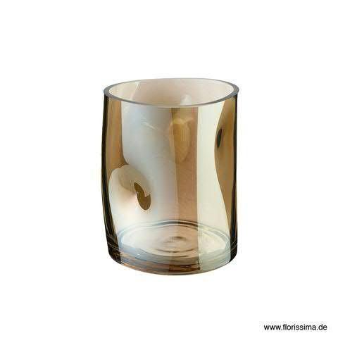 Glas Vase 12x12x15cm, braun