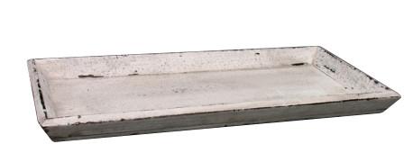 Tablett Holz 49x25cm, antik weiß