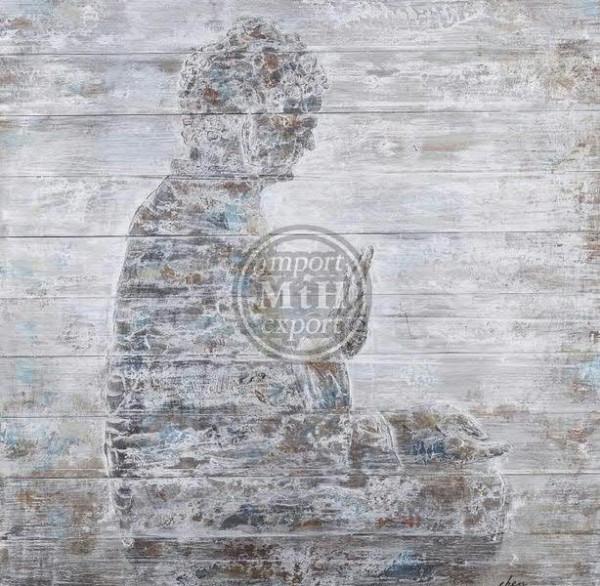 Bild Holz SP 100x100x5cm Buddha