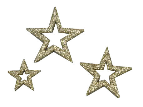 Sterne 3,5-6,5cm 24St.Glitter, gold