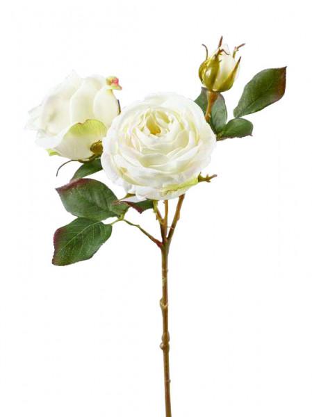 Rose verzweigt 43cm, weiß