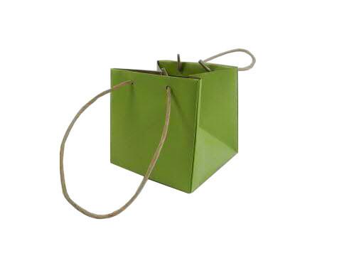 Pflanztasche Papier 14x14x13,5cm mit Henkel, hellgrün