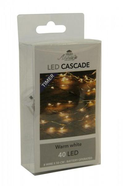 Microlichterkette 40LED 8x50cm mit Timer für Batterie, warm weiß