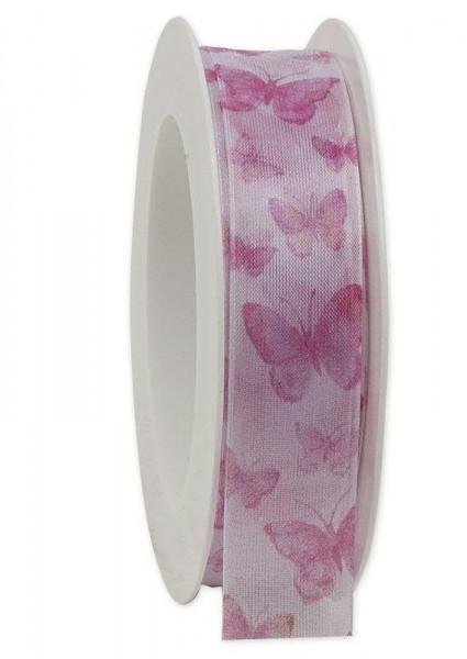 Band 305a/25mm 20m Schmetterling transparent, 25 orchide