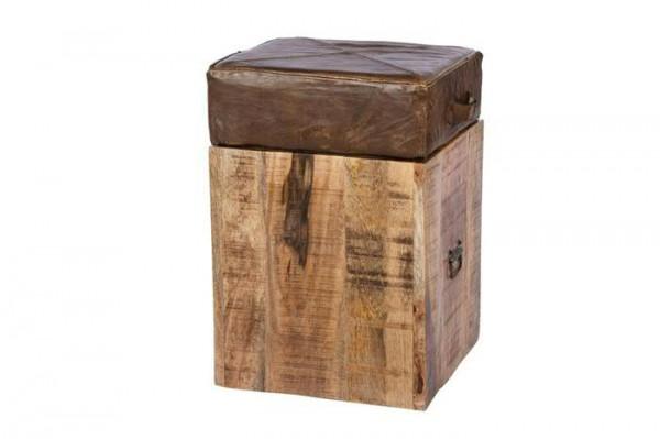 Hocker Holz 38x38x58cm mit Leder, ant.braun