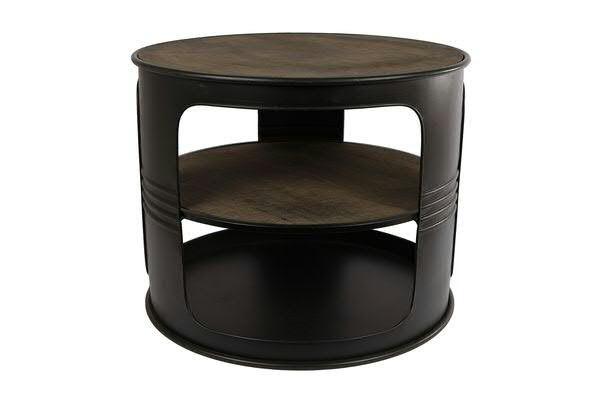 Tisch Metall Holz D50h40cm Olfass Schw Natur Tische Mobel