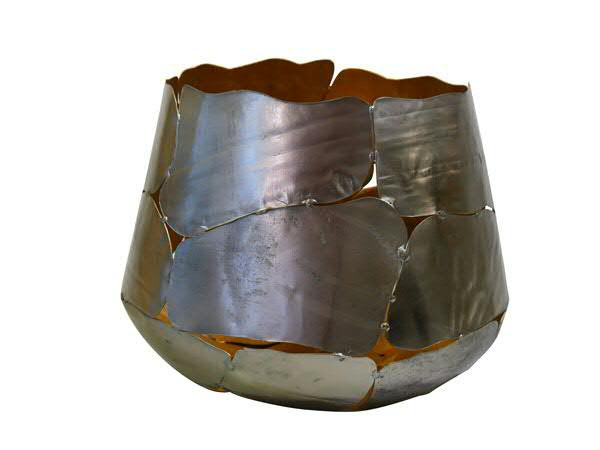 Windlicht Metall D23/30H22cm, silbe/gold